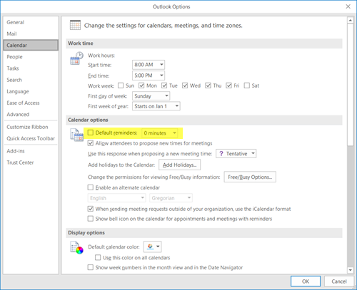 Turn off Outlook Calendar reminders and popup notifications