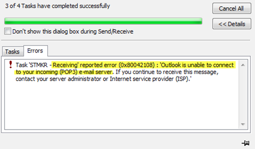 Outlook error (0x80042108): Outlook is unable to connect to your incoming (POP3) email server