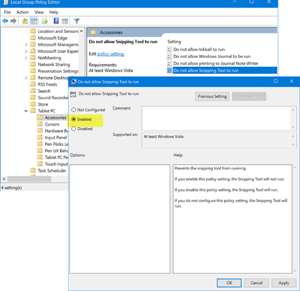 Disable Snipping Tool In Windows 10