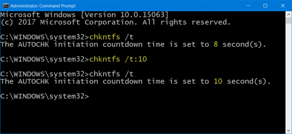 Reduce ChkDsk Countdown Time in Windows 10