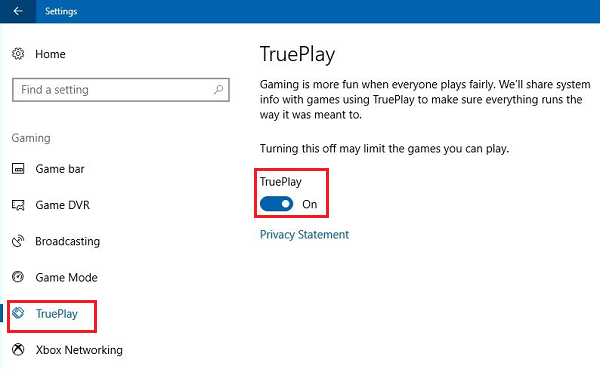 TruePlay anti-cheat in Windows 10