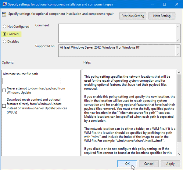 Windows couldn't complete the requested changes, Error code 0x800F081F