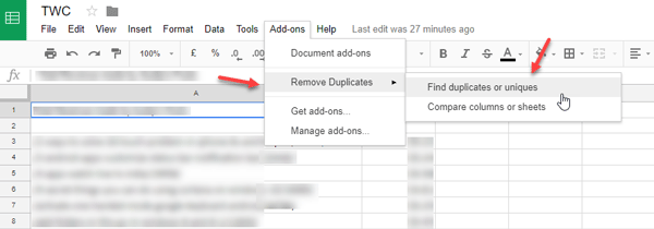 Delete duplicate rows in Google Sheets