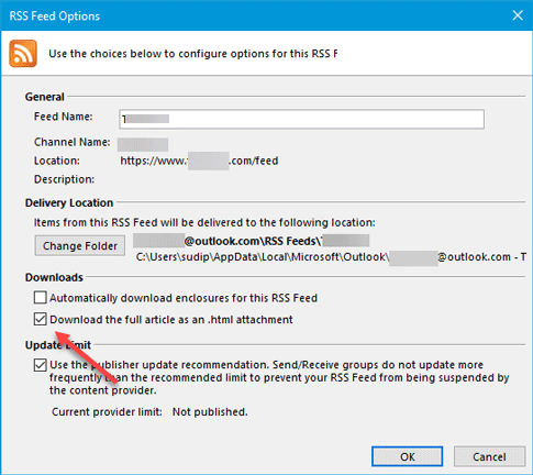 Microsoft Outlook RSS Feeds not updating on Windows PC