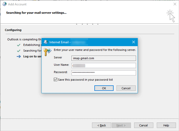 Outlook cannot connect to Gmail, keeps asking for password