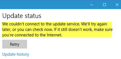We couldnt connect to the update service