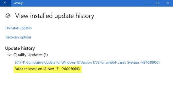 Windows Update failed to install 0x80070643