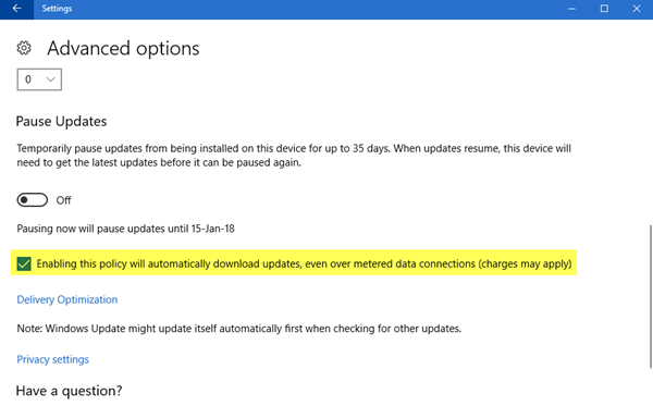 Allow Windows Updates to be downloaded automatically over Metered Connections