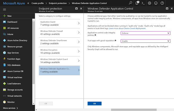 Application Control security feature in Windows Defender on Windows 10