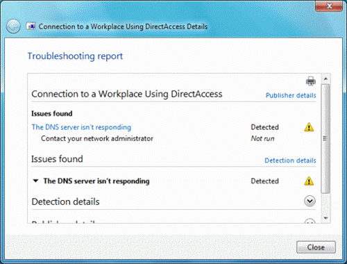 Connection to Workplace Using DirectAccess Troubleshooter
