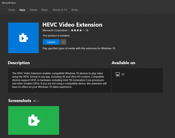 play HEVC coded videos