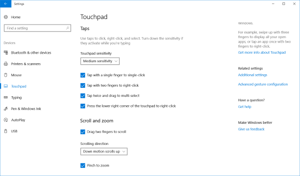 Precision Touchpad settings in Windows 10