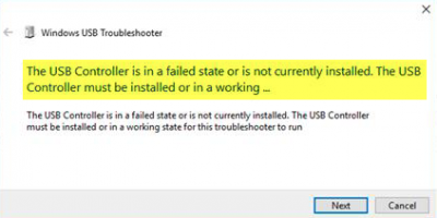 The USB Controller is in a failed state or is not currently installed