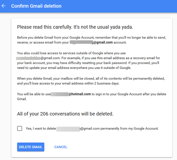 delete Gmail account permanently 4