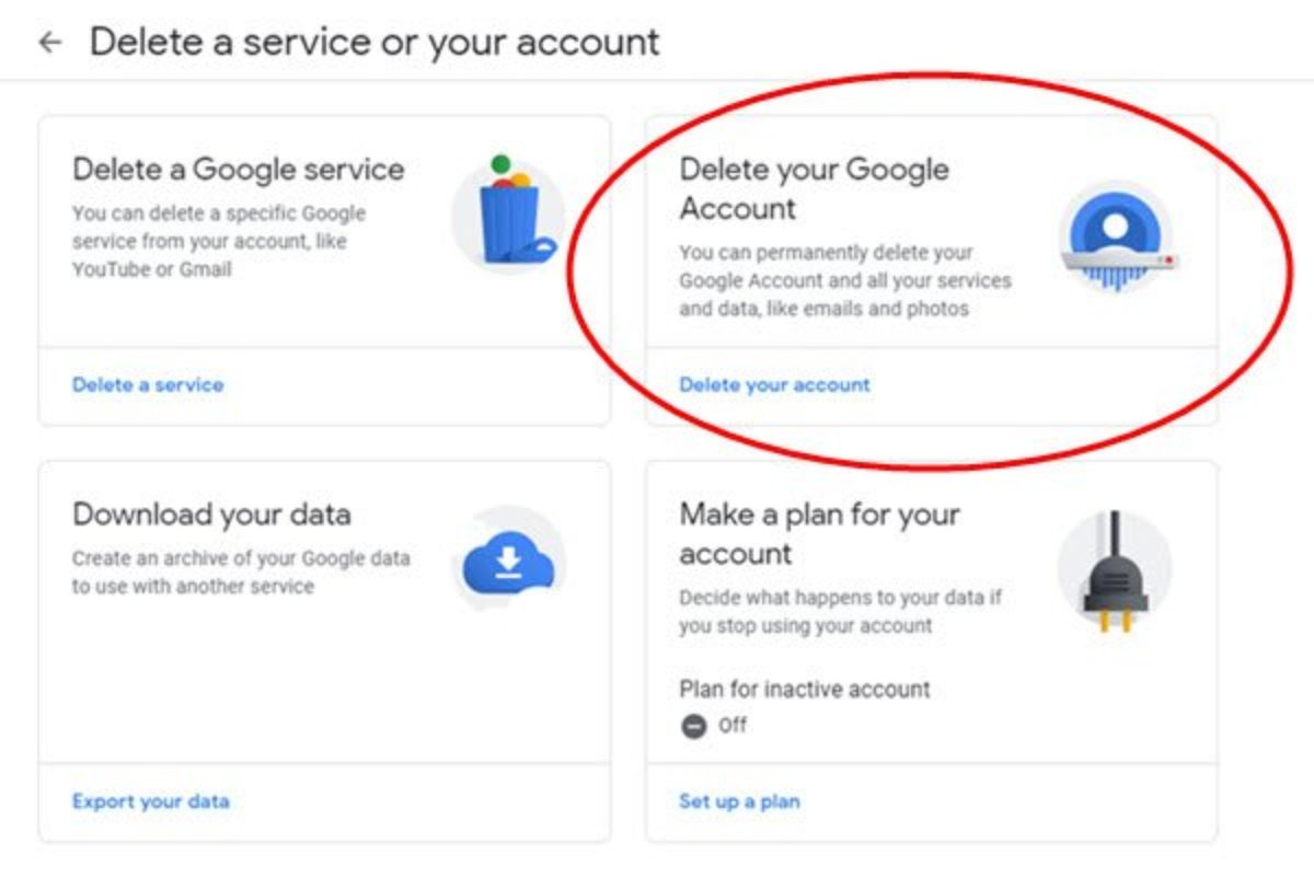 How to deactivate or delete Gmail account permanently