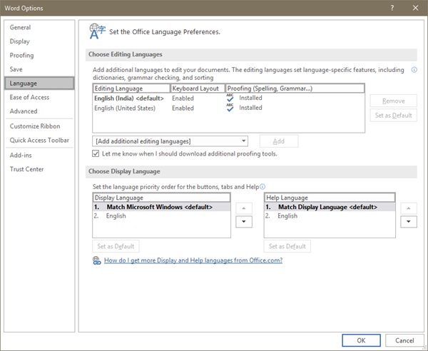 Change Language in Microsoft Office