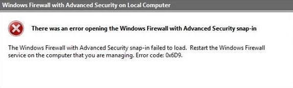 Windows Firewall with Advanced Security snap-in failed to load, Error 0x6D9