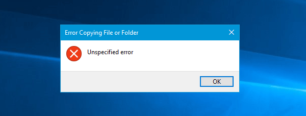 Error copying file or folder, unspecified error