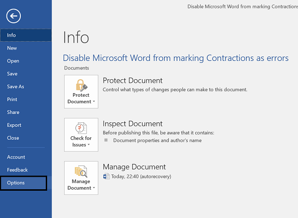 Stop Microsoft Word from marking Contractions as errors