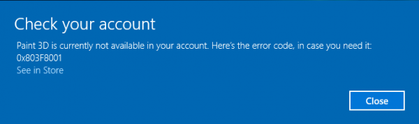 Paint 3D is currently not available in your account, Error code 0x803F8001