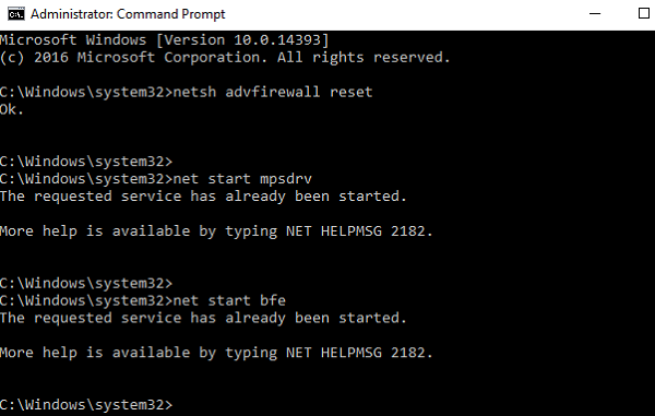 Reset firewall through command prompt