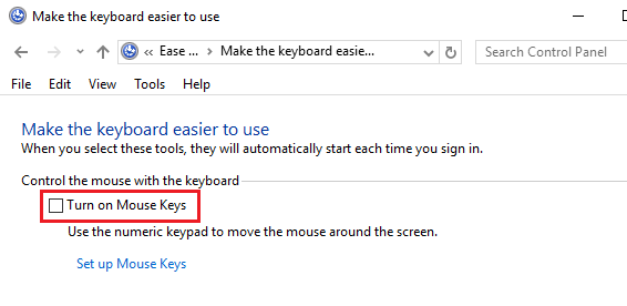 Turn Off Mouse Keys