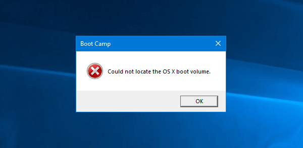 Boot Camp could not switch between Windows and Mac OS