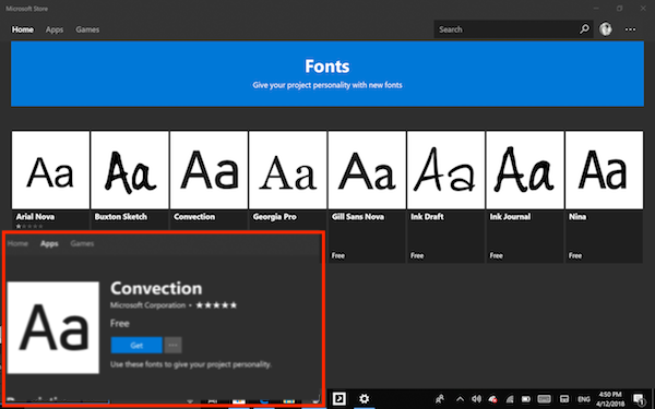 Install Fonts from Windows 10 Store