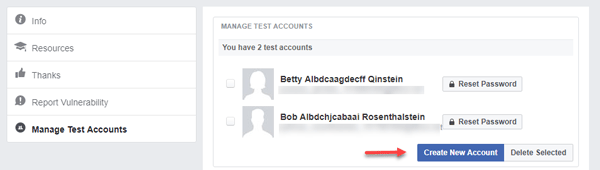 Create a Test Account on Facebook