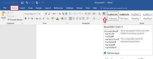 How to delete a blank page at the end of a Microsoft Word document