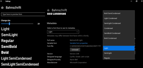 Windows 10 Font Settings Option