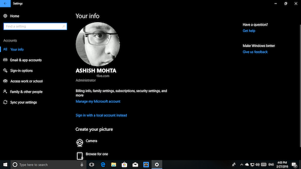 Manage User Accounts in Windows 10