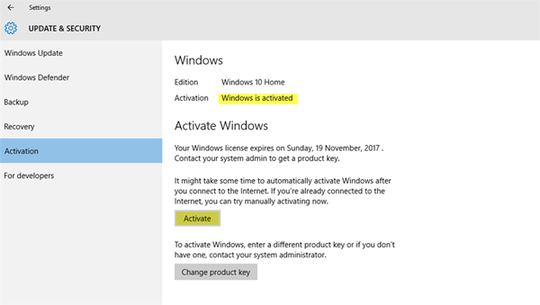 Windows 10 keeps asking for Activation