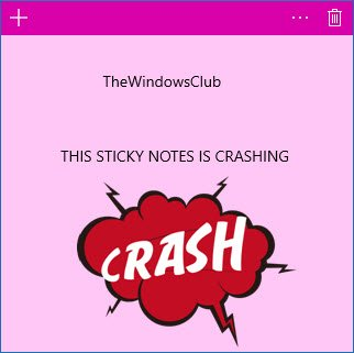 sticky notes crashes