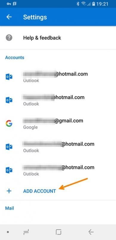 Add multiple accounts in Outlook app