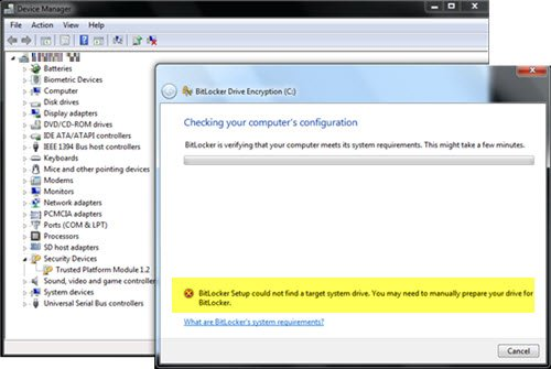 BitLocker Setup could not find a target system drive to prepare