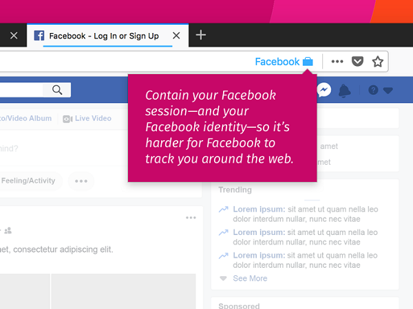 Facebook Container Firefox addon