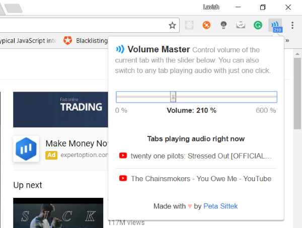 Volume Master for Chrome browser