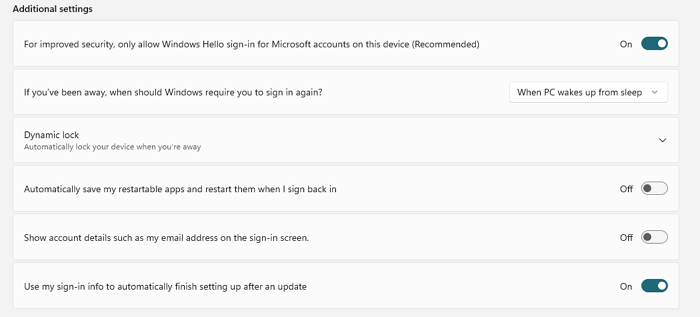 Windows Additional Setting Sign-in