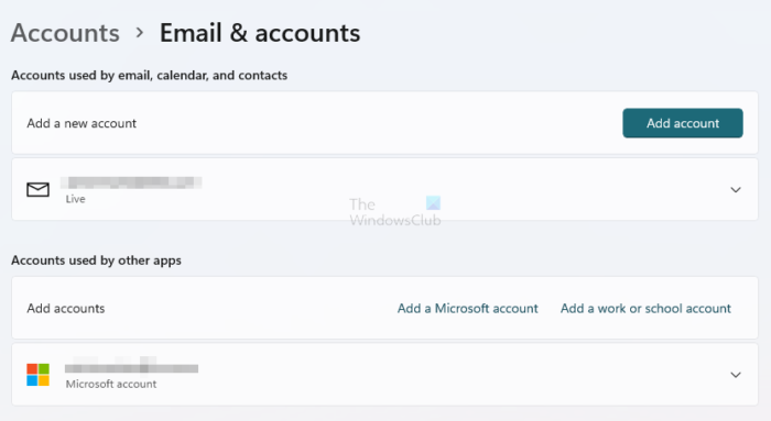 Windows Email and Accounts