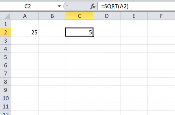 Calculate Square Root of Number in Excel