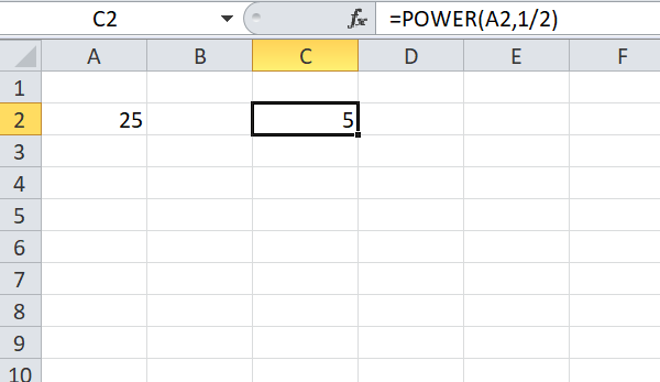 find square root of a number in excel using power function