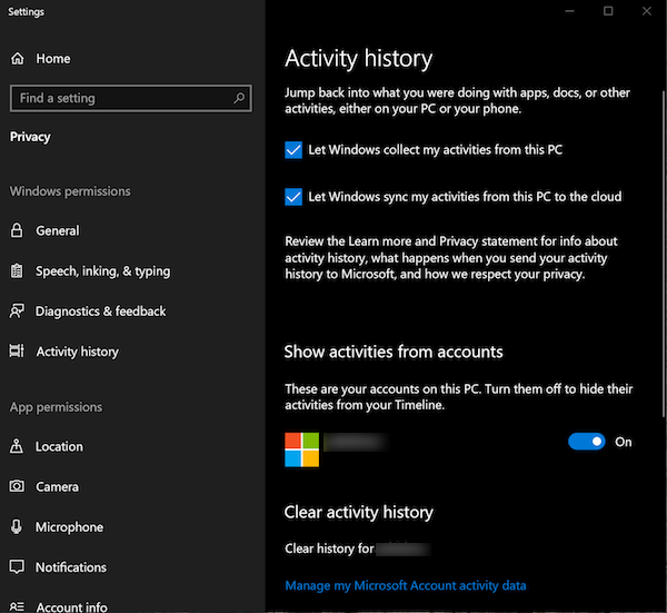Activity History on Windows 10