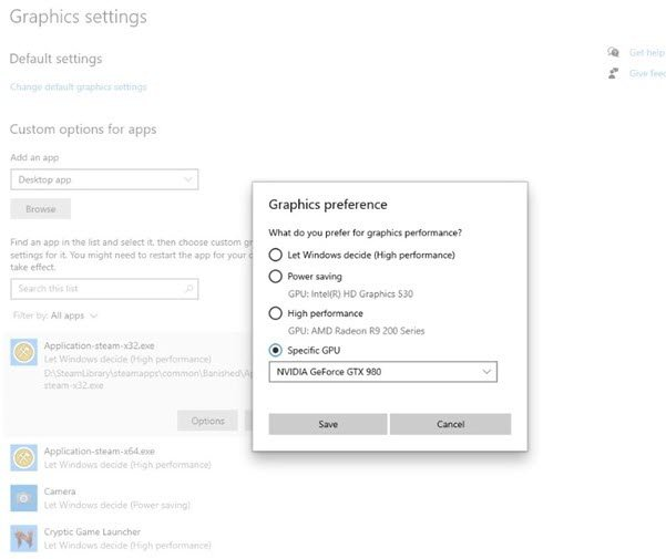 Allow users to specify a default high performance GPU or pick a specific GPU on a per application basis