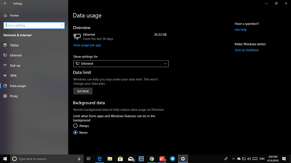 Data Usage for Network Adapters on Windows 10