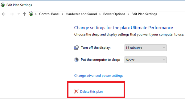 Disable Ultimate Performance Mode in Windows 10