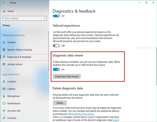 Diagnostic Data Viewer in Windows 10