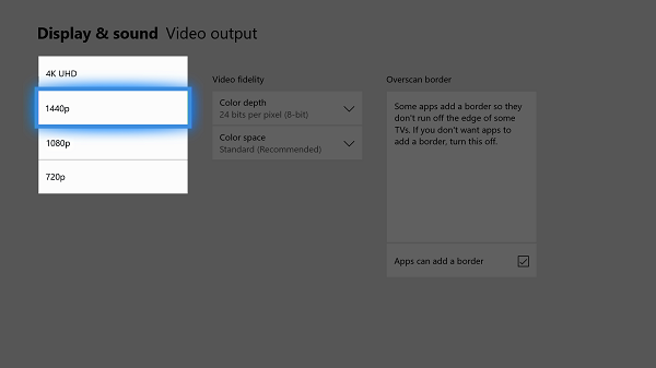 Enable 1440P support on Xbox One