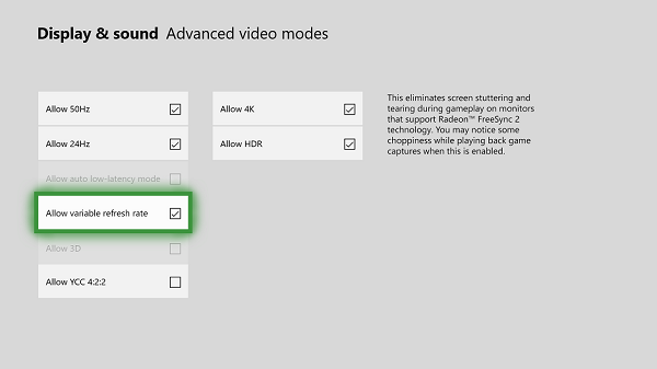 Enable Variable Refresh Rate on Xbox One
