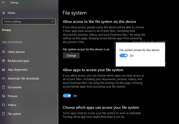 File System Access to Apps on Windows 10
